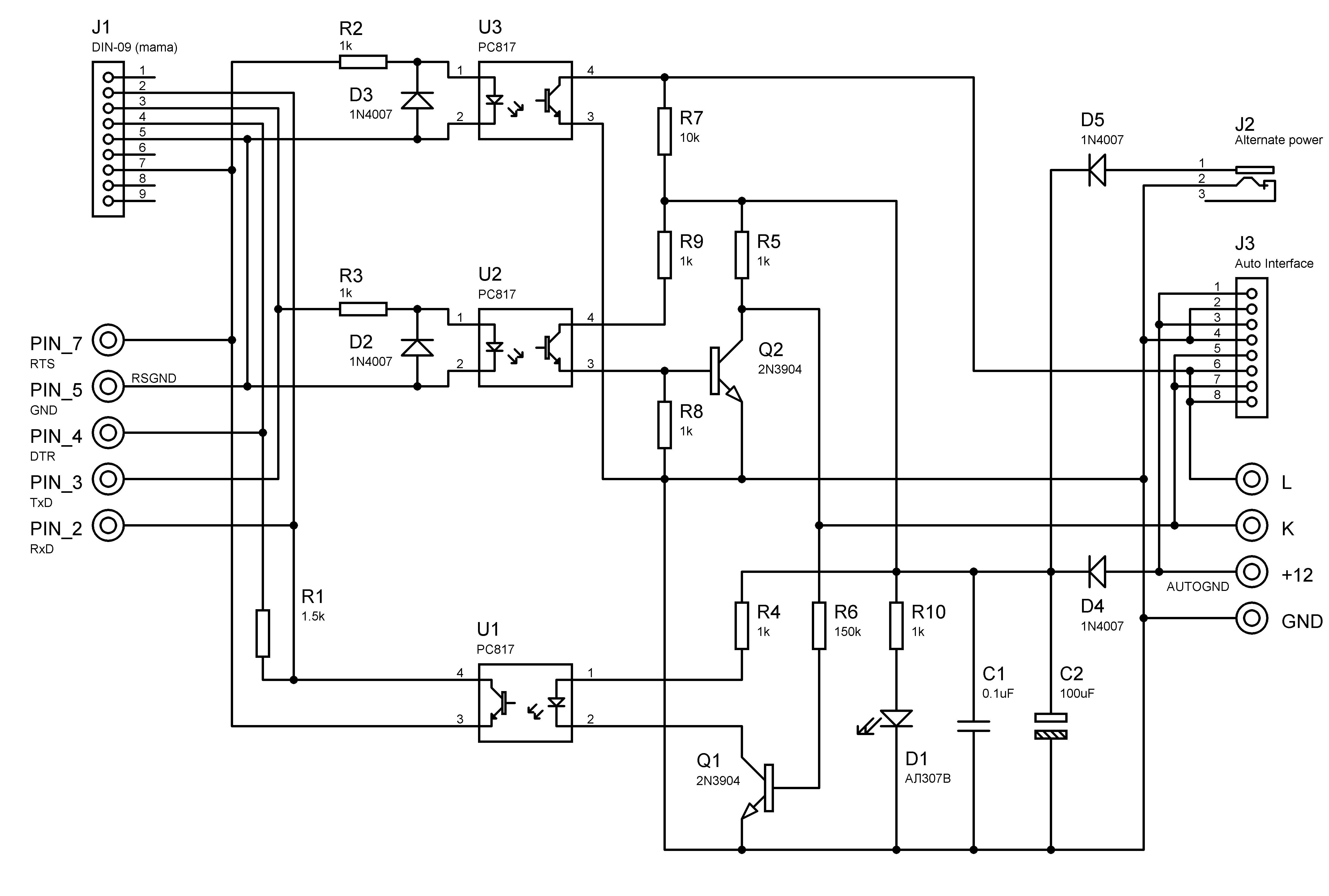 Схема адаптера K-L-Line на дискретных элементах.