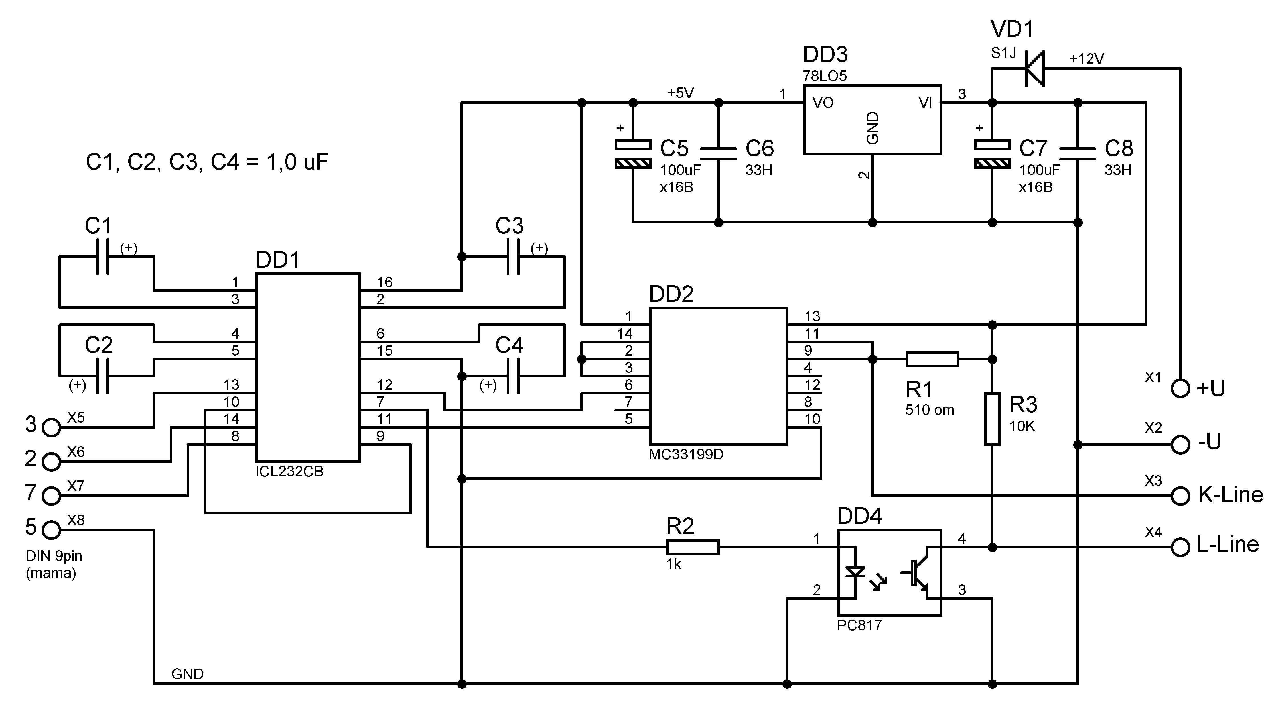 Схема адаптера K-L-Line с оптроном.