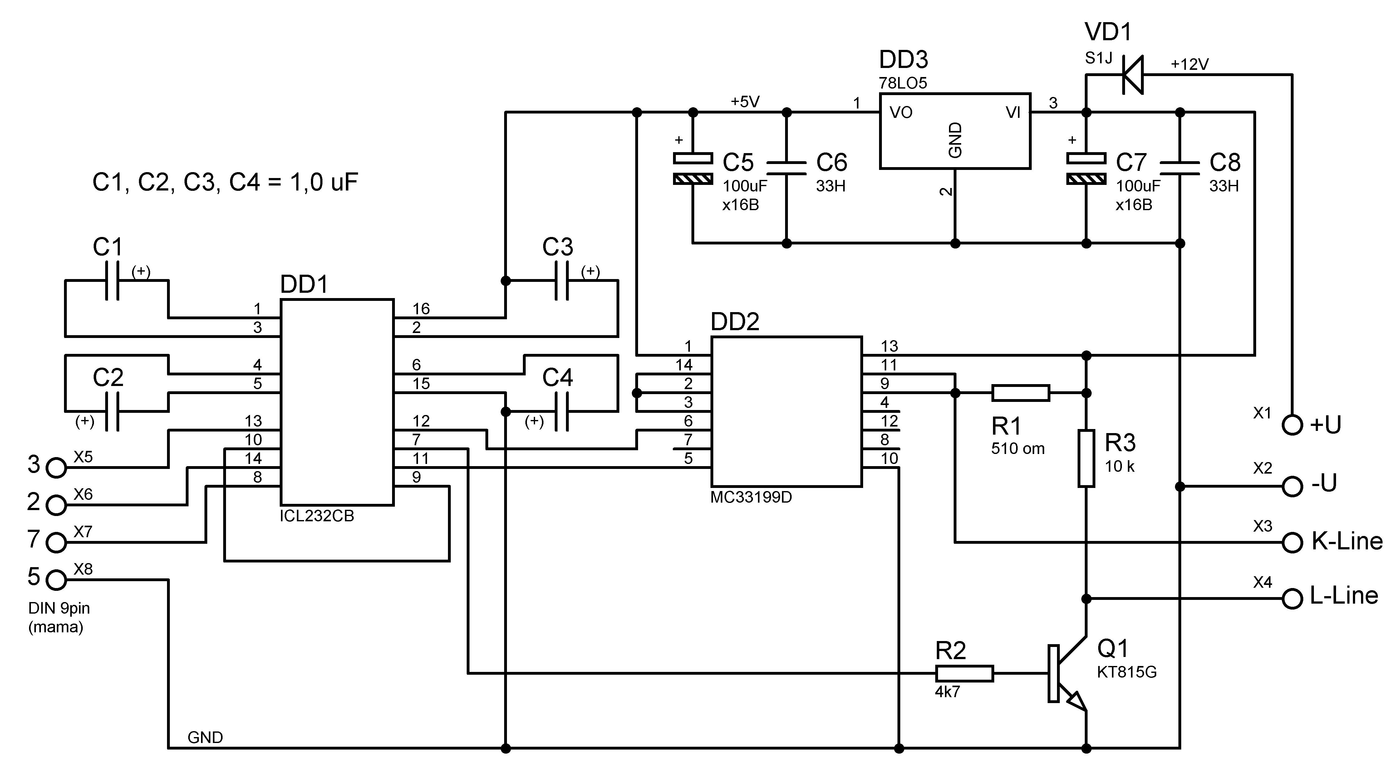 Схема адаптера K-L-Line с транзисторным ключом.