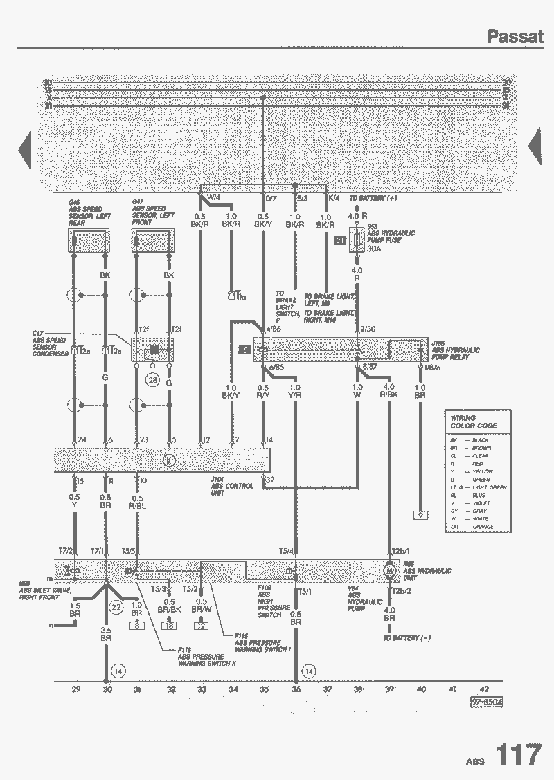 электрическая схема abs автомобиля volkswagen